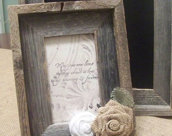 Rustic Wood Picture Frame with Burlap Rose