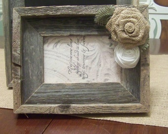 Barn Wood Rustic Picture Frame with Burlap Rose