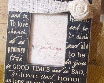 Wedding Vows Photo Frame with Burlap ribbon and Rose for Bride and Groom