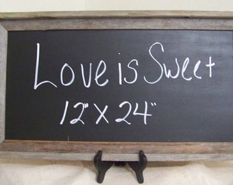 "Rustic Chalkboard-Wood Wedding Chalkboard-12"" x 24"""