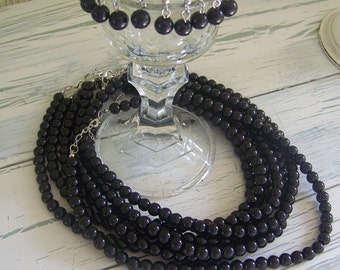 Wedding Bridesmaid Glass Black Pearls-5 sets of Necklace and Earrings
