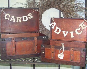Rustic Wedding Card Box / Advice Box Wooden Set of 2