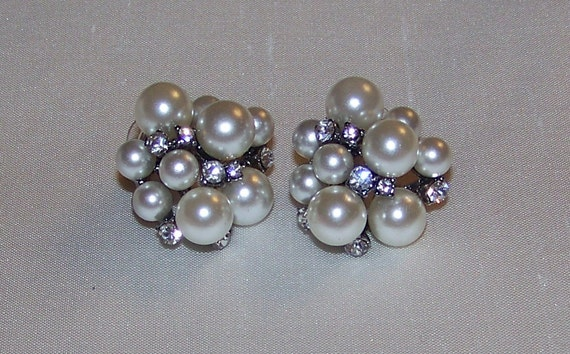 RESERVED LISTING Wedding Bridal Pearl a Rhinestone Earrings