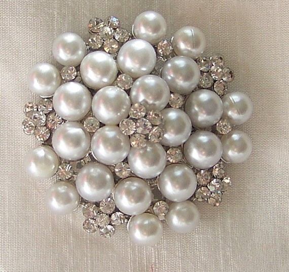 Wedding Bridal White Pearl Brooch with Crystals