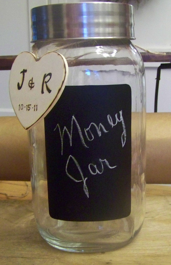 Personalized Wedding Money Jar for Bride and Groom
