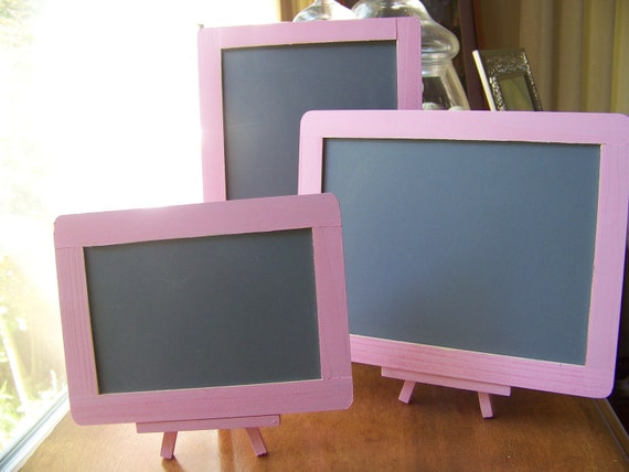 3 Shabby Chic/Rustic Chic Wedding Chalkboards with 2 Easels