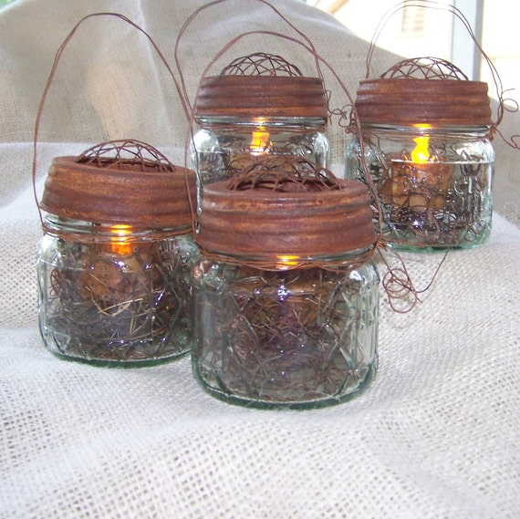 4 Rustic Mason Jar Lights-Wedding Hanging Jar Tea Lights with Rusty Lids and Handle