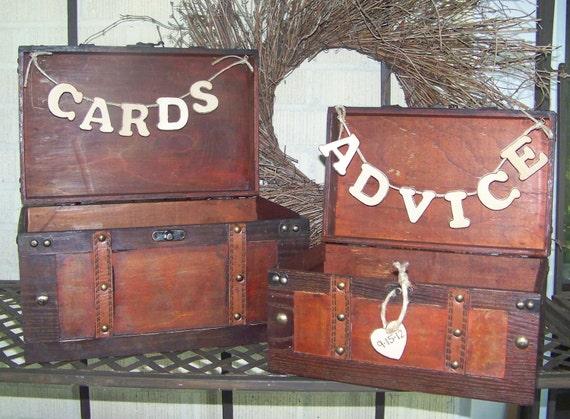 Rustic Wedding Card Box / Advice Box Wooden Set of 2
