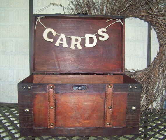 Card Box, Rustic Wedding Card Box, Stained Wooden Box with Banner, Barn or Farm Wedding