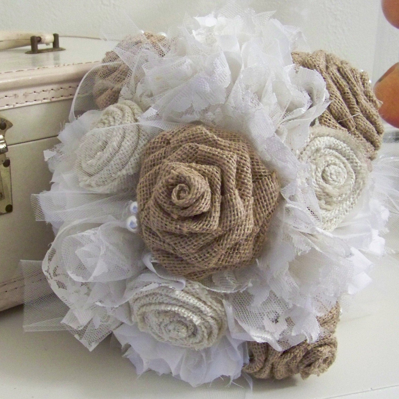 Burlap Wedding: Burlap And Lace Wedding Bouquet Vintage Lace By