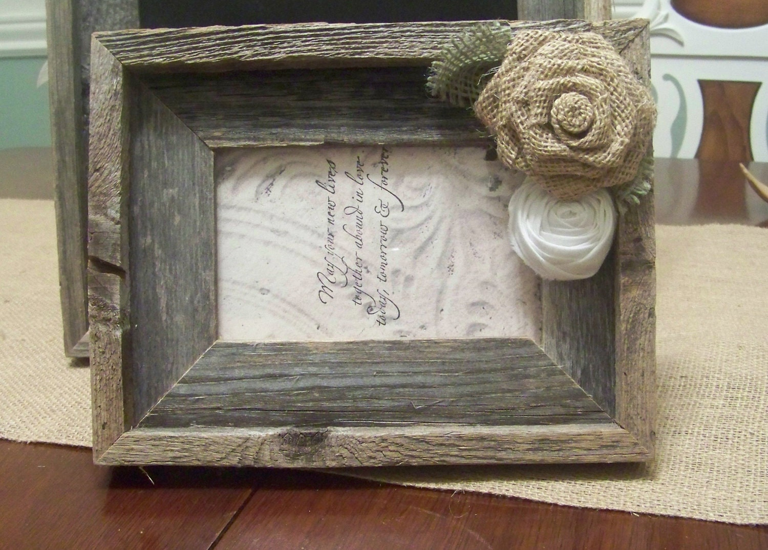 Barn Wood Rustic Picture Frame With Burlap By Sugarplumcottage