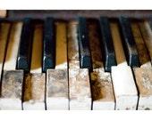 Piano Keys - Fine Art Photograph - Rustic Piano Print - Tickle the Broken Ivories Photo - Rustic Home Decor - Music Photo - Office Wall Art
