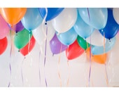 Party Balloons, 8x12 Fine Art Photograph, Still Life Photo, Balloons Photo, Red, Blue, White, Green, Purple, Wall Decor