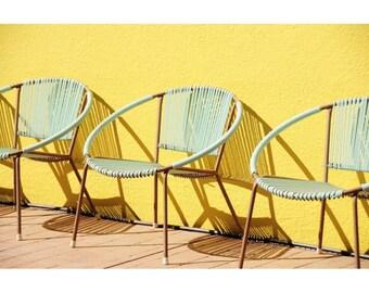 Retro Chairs Photo - Miami in Capay - Fine Art Photograph - Modern Chairs Print - Teal Pool Chairs Photo - Modern Wall Art - Home Decor