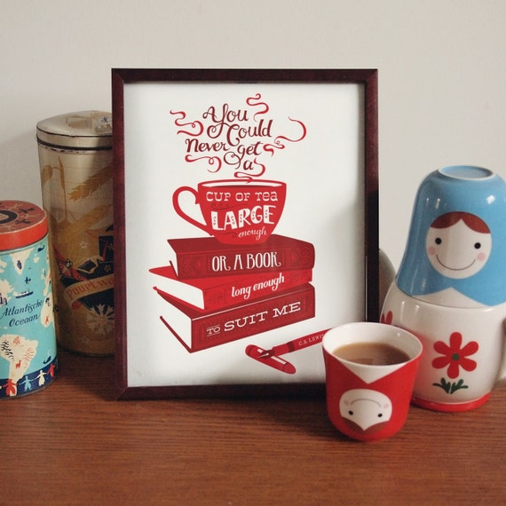 Tea and Books CS Lewis quotation illustration print - red
