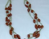 Necklace organza ribbon and glassbeads