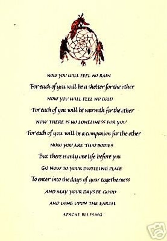 Native American APACHE WEDDING BLESSING A3 By InspiredByScript
