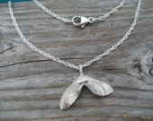 Sterling silver maple seed necklace