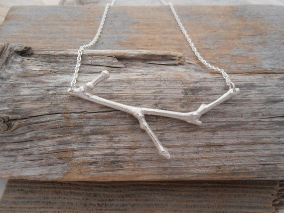 Amazing sterling silver twig necklace- one of a kind