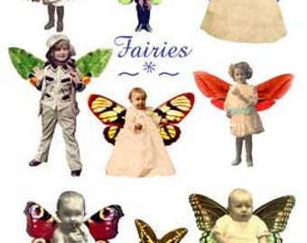 Altered Art Fairy Images - Vintage Children Fairies Download Digital Collage Sheet - GreatMusings No. 218
