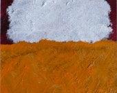 "White over Orange - Rothko Acrylic 5""x5"""