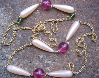 Eco-Friendly Statement Necklace - Sweet Teardrops - Recycled Vintage Rope Chain, Pale Pink Pearls, Rose Pink and Green Beads