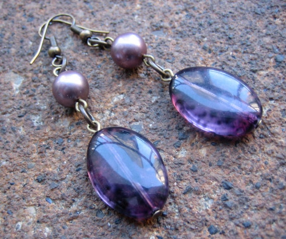 Purple Haze Dangle Earrings  - Recycled Vintage Glass Beads (Eco-Friendly)