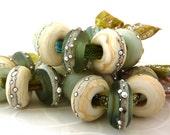 Rolling Stones - Harmony .. European charm bracelet size handmade lampwork beads .. UK SRA