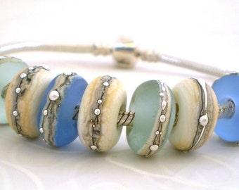 Rolling Stones - Blues .. handmade glass lampwork beads to fit European charm bracelets .. UK SRA