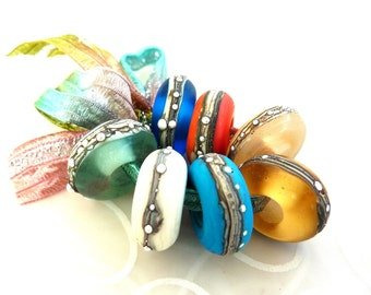Beachy Big Hole Beads .. European charm bracelet beads by Lush Lampwork .. UK SRA