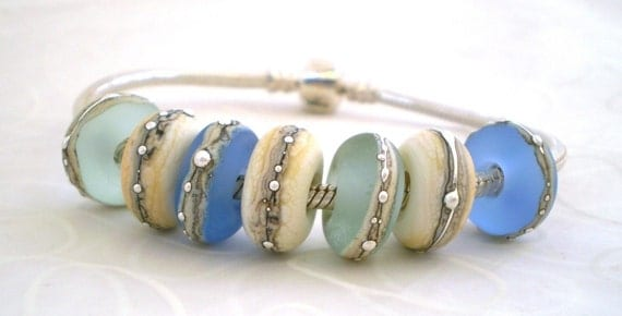 Rolling Stones - Blues .. handmade glass lampwork beads to fit European charm bracelets .. UK SRA