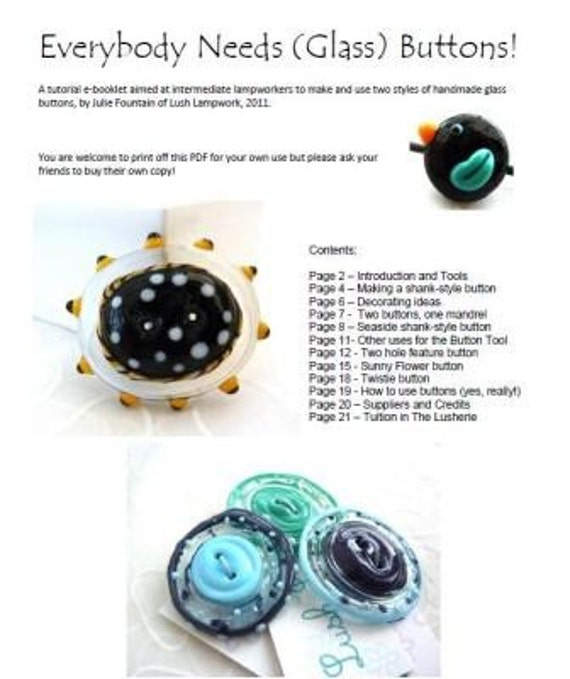 Everybody Needs (Glass) Buttons .. lampwork tutorial eBook .. by Lush Lampwork .. Instant Download