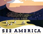 SEE AMERICA - Welcome to Montana - 1930s WPA - Fine Art Reproduction Print