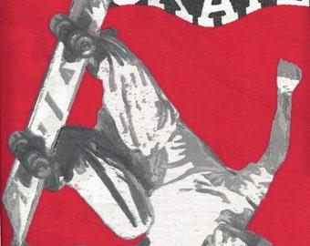 SKATE Panels - SKATEBOARDING Prints on Cotton Red & Black