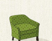 club chair (green dot) - 5x7 print