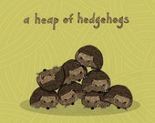 a heap of hedgehogs - limited edition print 23/100
