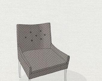 modern chair 4 (taupe herringbone) - 5x7 print