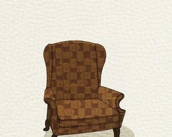 wingback (ochre geometric) - 5x7 print