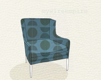 modern chair 3 (blue semi-circle) - 5x7 print