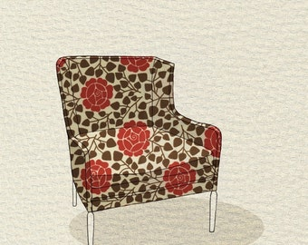 modern chair 3 (rose garden) - 5x7 print