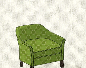 club chair (green dot) - 5x7 print