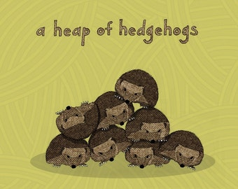 a heap of hedgehogs - limited edition print 24/100