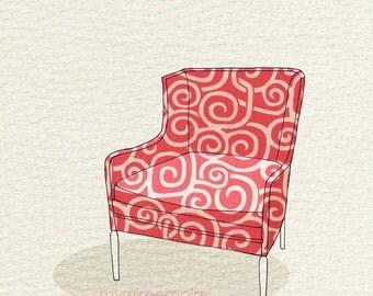 modern chair 3 (pink swirl) - 5x7 print