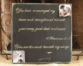 CUSTOM, Large 20x20 inch Memory Plaque with Quote and Space for 1 or More Photos