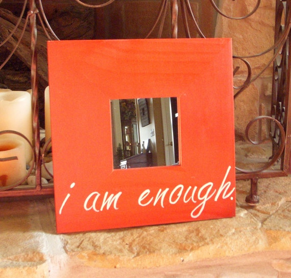 10x10 inch Affirmation Mirror with Quote, Cinnamon Red