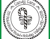 Candy Cane Holiday Return Address Rubber Stamp Clear with a Clear Block --2695