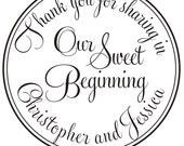 3 inches Thank you for sharing in our sweet beginning CUSTOM RUBBER STAMP