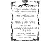 Rustic DIY Wedding invitation Rubber Stamp SET with Invitation, RSVP, Return address and Monogram