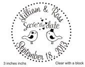 SAVE the DATE lovebirds custom rubber stamp for wedding announcements 3x3