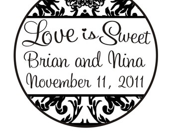 Love is sweet rubber stamp for wedding candy bar with a damask border  --5664